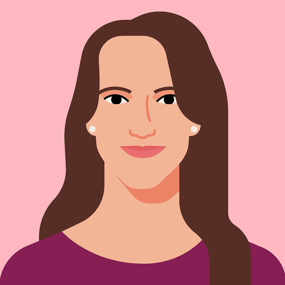 An illustrated portrait of Ali Rayl, VP of Customer Experience at Slack