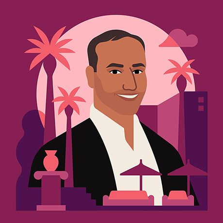 Illustrated portrait of Atif Rafiq.