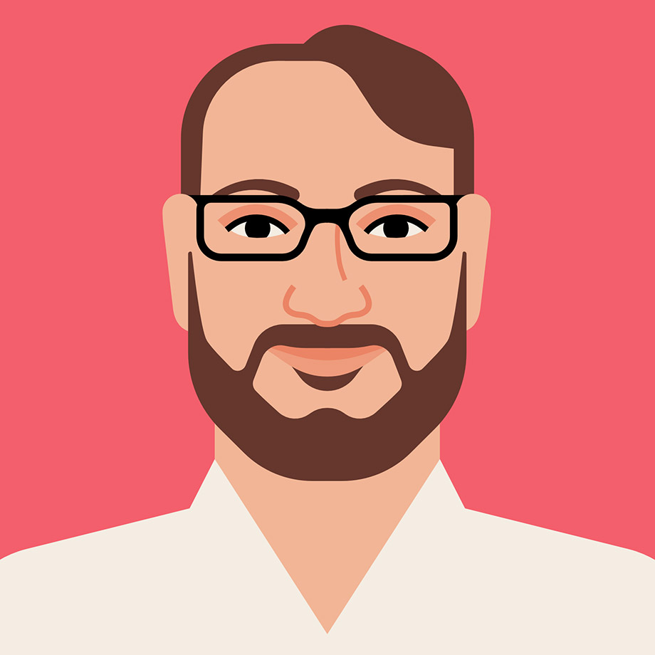 An illustrated portrait of Cal Henderson, Slack's co-founder and CTO