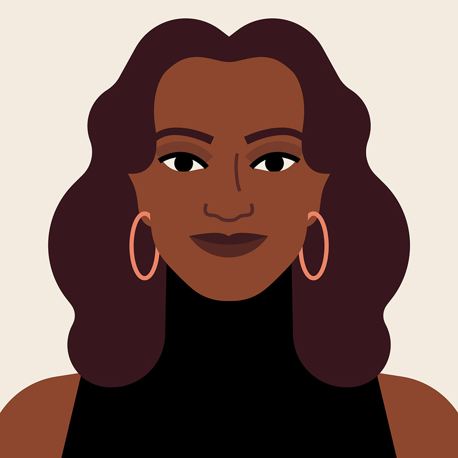 An illustrated portrait of Nadia Rawlinson, Chief People Officer at Slack
