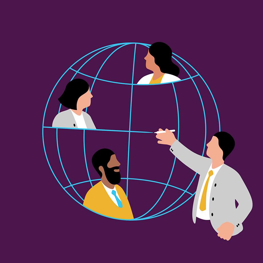 Dipendenti che disegnano un mappamondo, rappresentando il modo in cui Slack Connect riunisce tutte le aziende del mondo
