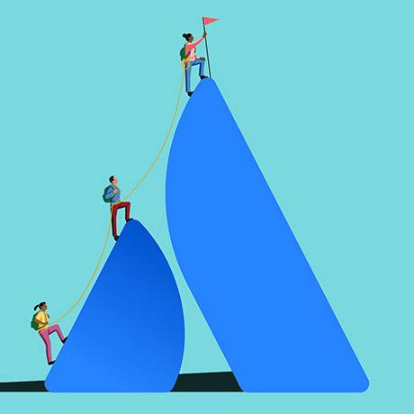 A team ascends the Atlassian logo like a mountain