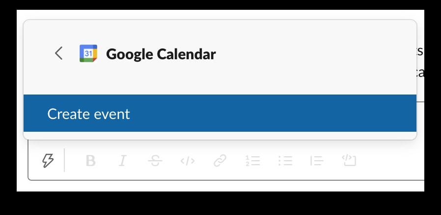 The Google Calendar app in the shortcuts menu