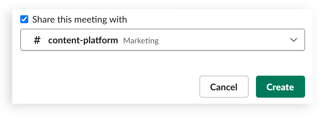 A user selects a channel in which to share the meeting details