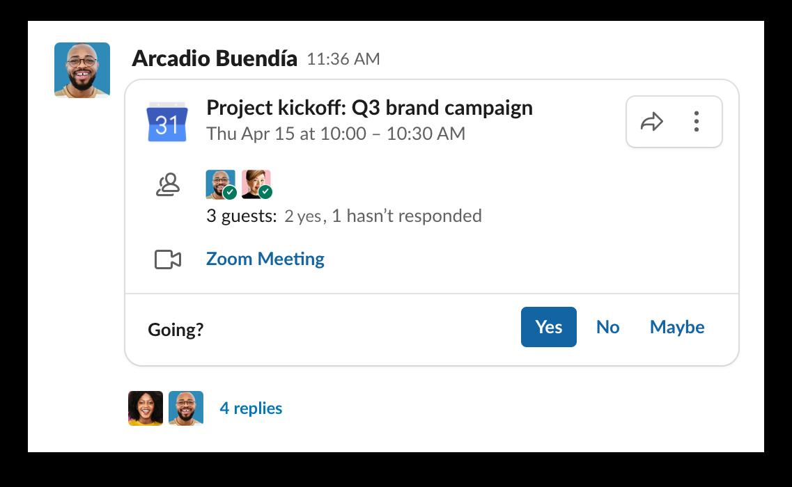 Meeting details shared inside of a Slack channel