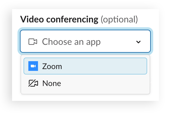 A Zoom video conferencing link is added to a meeting