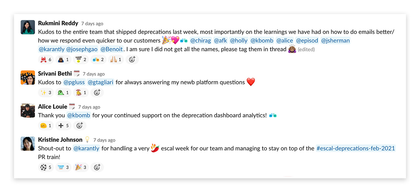 Kudos chain in engineering Slack channel