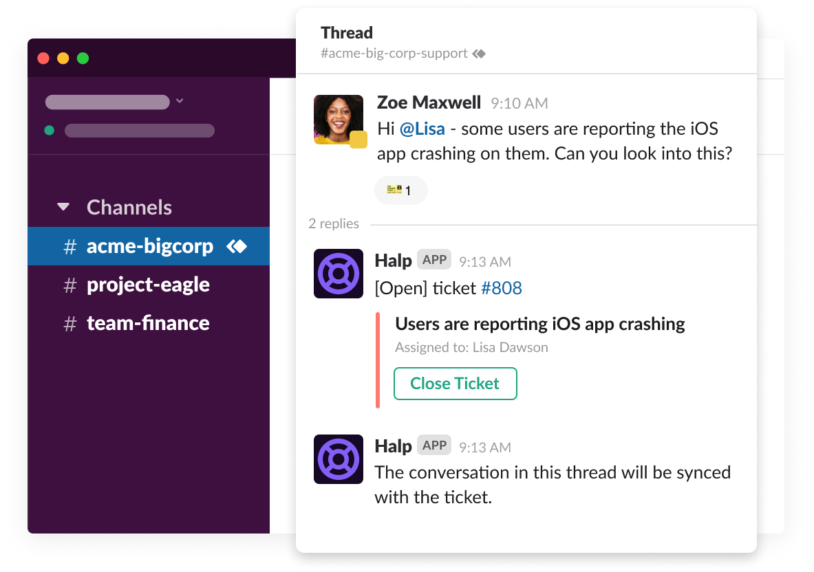 An agent solves a customer issue using the Halp app for Slack