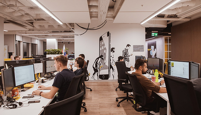 Employees working in Tinkoff office