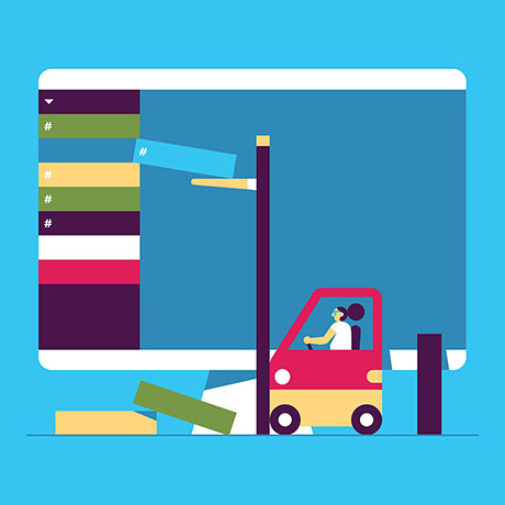 A forklift reorganizes someone's Slack sidebar with ease