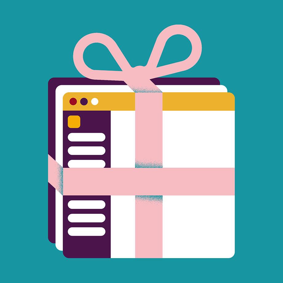 Slack desktop app wrapped up as a gift