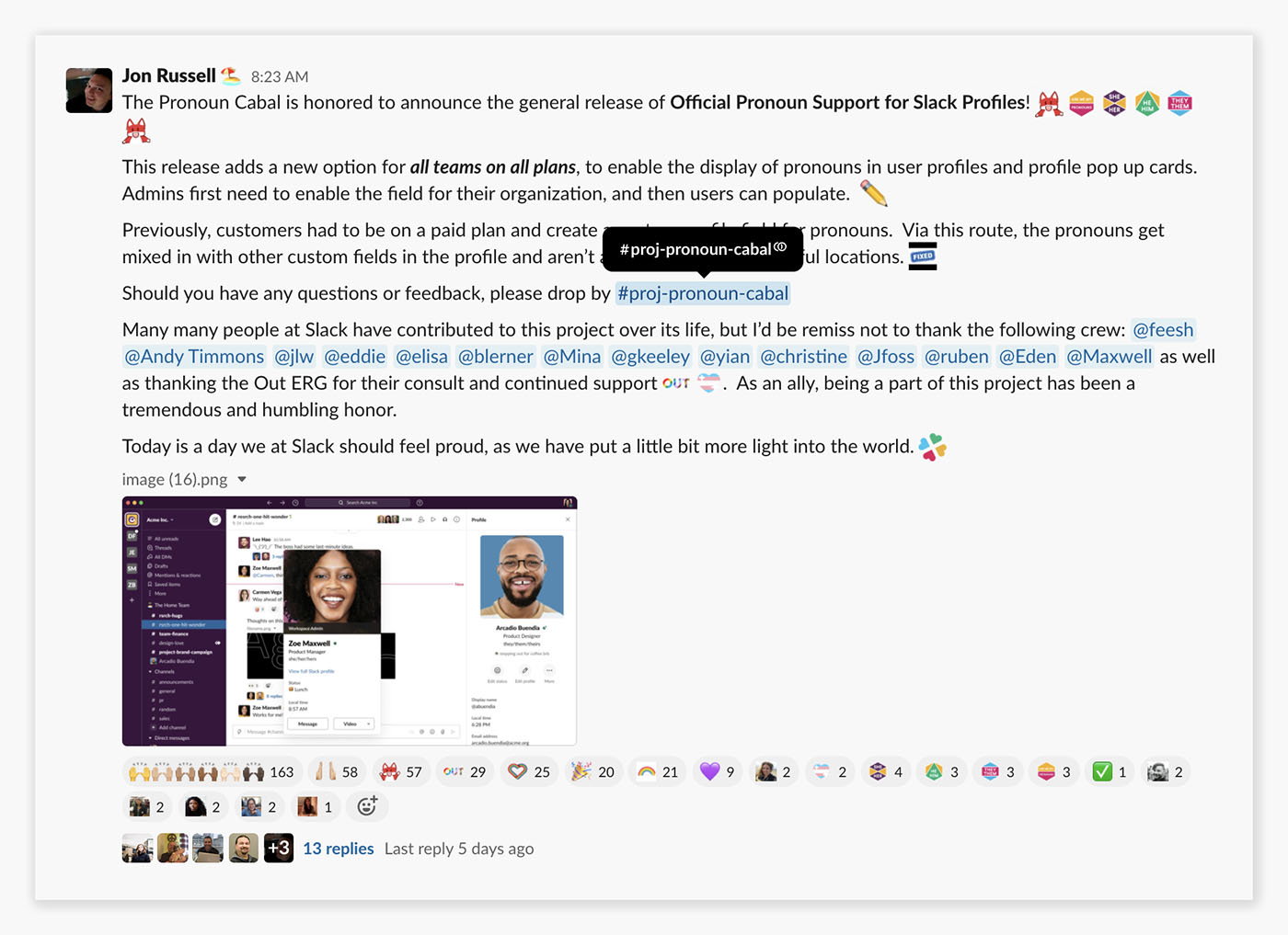Slack channel where the team added the pronoun feature