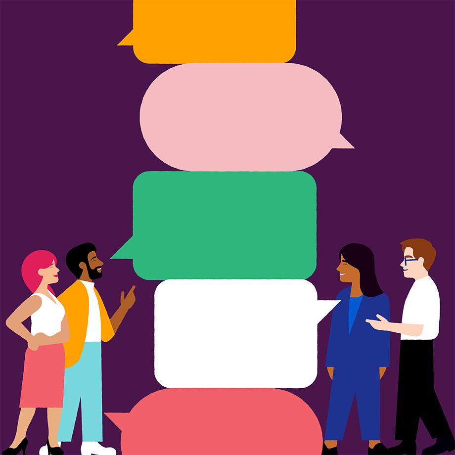 Teammates talk through a problem aloud