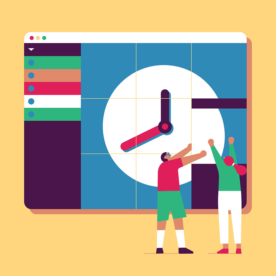 Teammates work together to assemble a clock within a Slack workspace