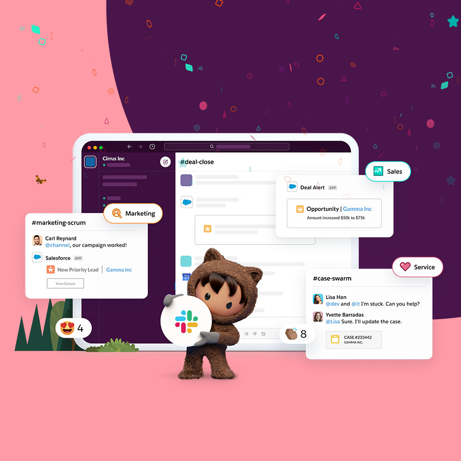 Illustration showing Salesforce's Astro holding the Slack logo to mark the completion of Salesforce's acquisition of Slack.
