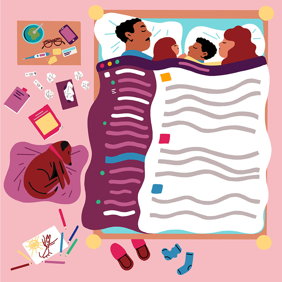 A family rests under a blanket that resembles the Slack UI.