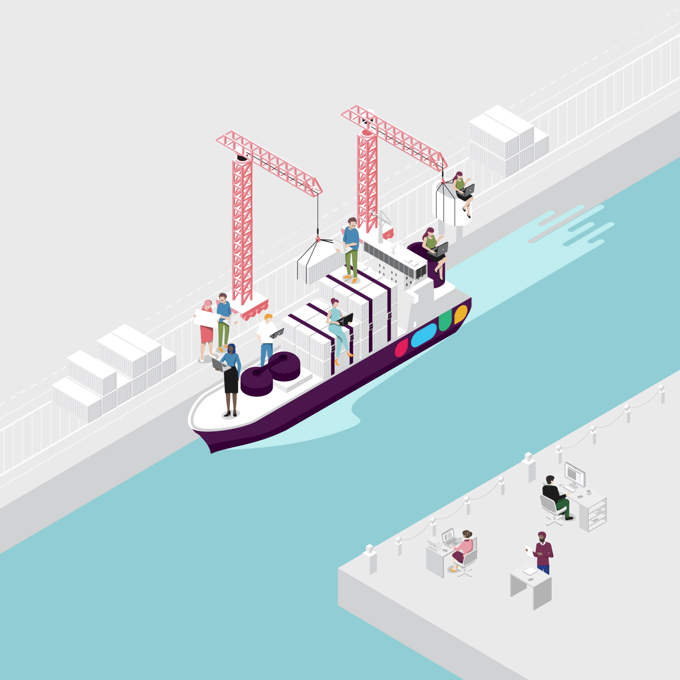 Boat illustration with people working representing Slack and Office 365 collaboration