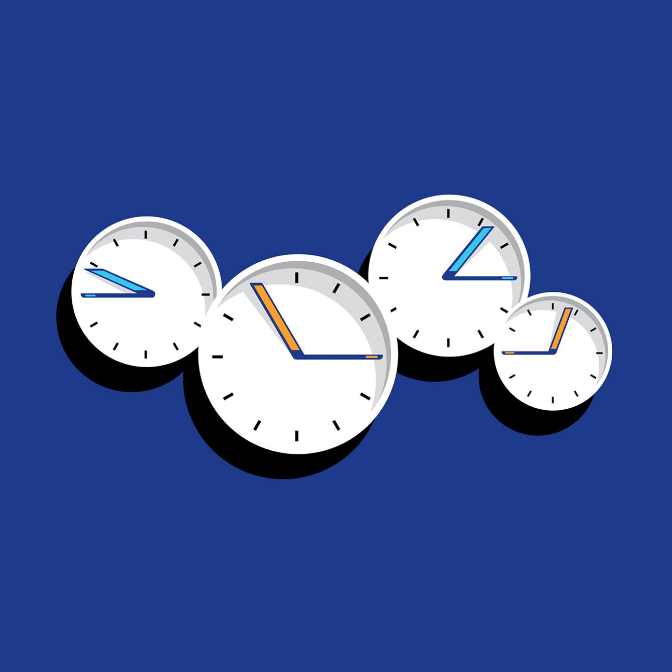 Relógios em fusos horários diferentes, representando um trabalho assíncrono