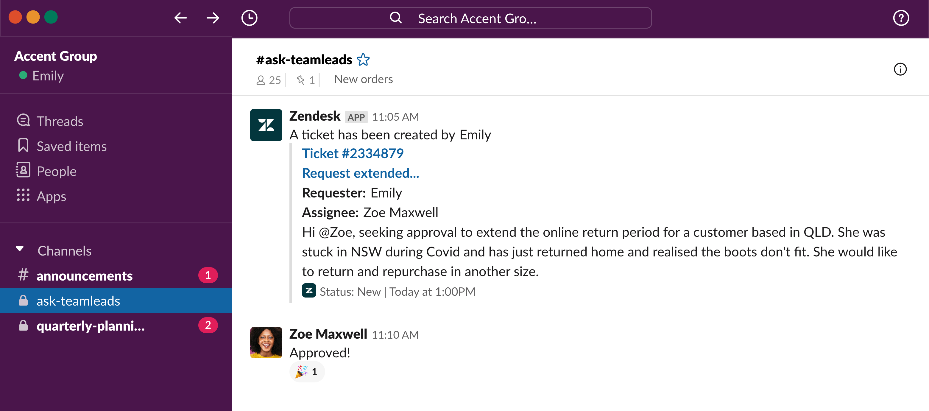 Accent Group support agent requesting approval for return in the team leads channel in Slack