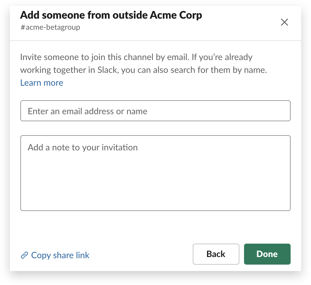 The second step in adding an external partner to a channel in Slack