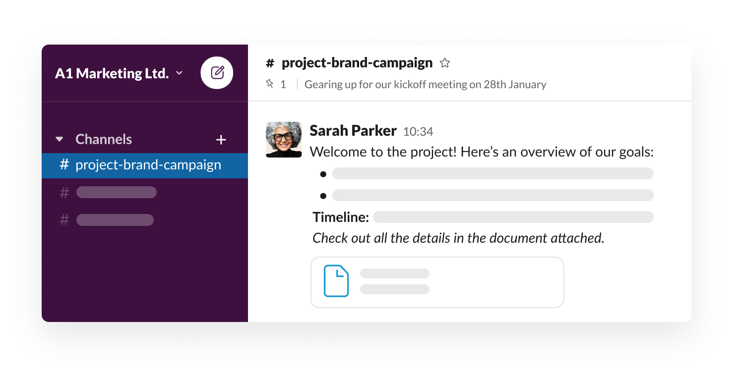 Welcome message in a Slack channel