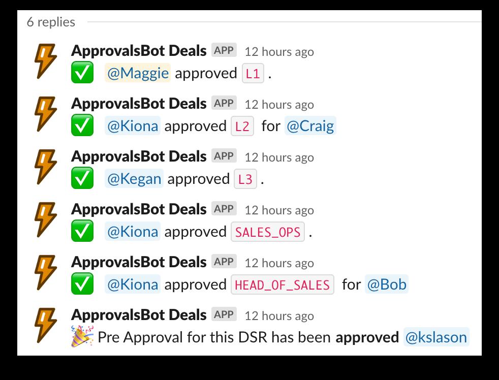 A screenshot of Approvals Bot