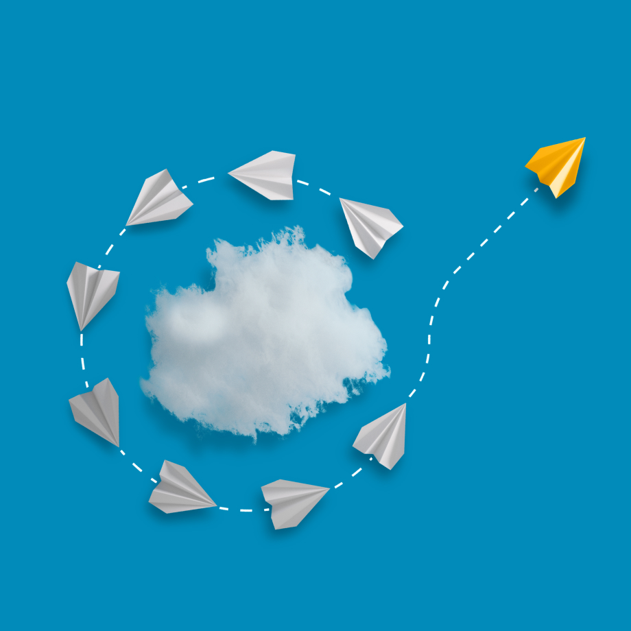 Paper airplanes forming a circle around a cloud and taking off