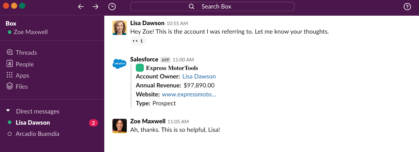 Box sales team using Salesforce integration in Slack