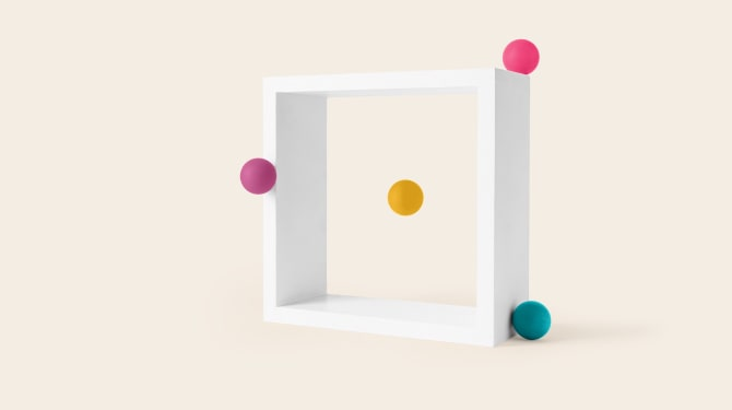 Balls floating trough a frame
