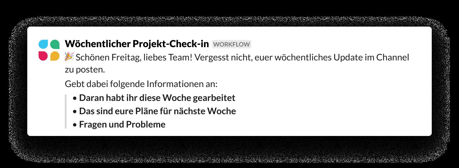 Wöchentliche Check-ins mit dem Workflow-Builder durchführen