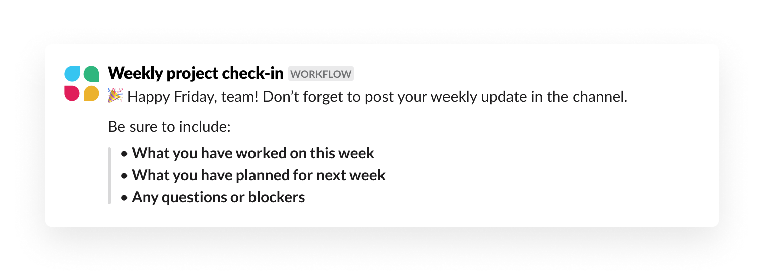 Running weekly check-ins using Workflow Builder