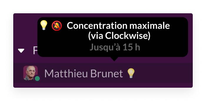 L'application Clockwise pour Slack présente un utilisateur qui se concentre sur une tâche complexe