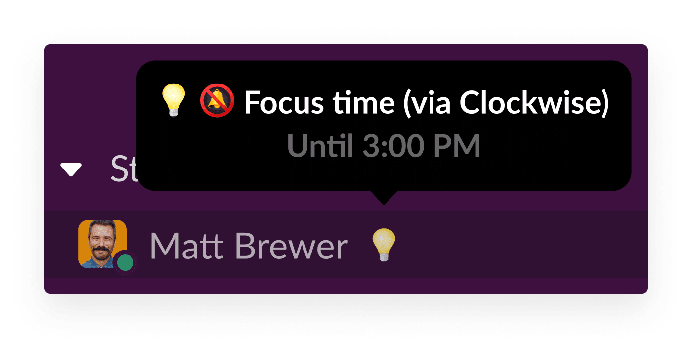The Clockwise app for Slack shows a user is focusing on deep work