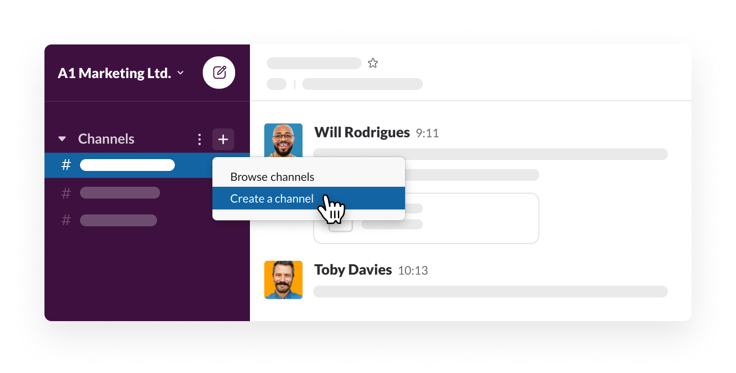 Creating a channel in Slack