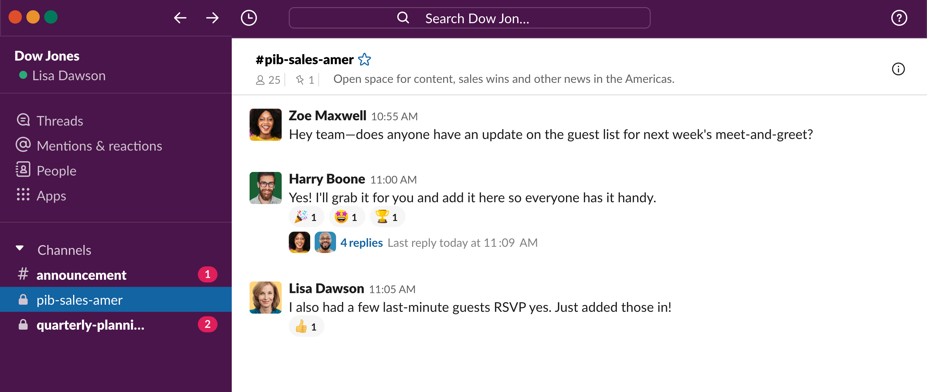 Dow Jones's internal comms strategy in Slack channels