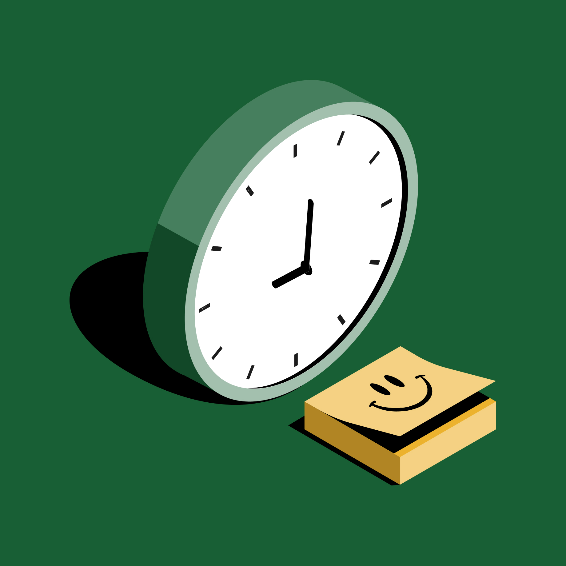 Clock icon next to notepad with smile drawing