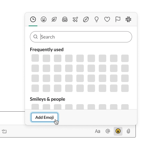 A grayscale version of the Slack emoji picker