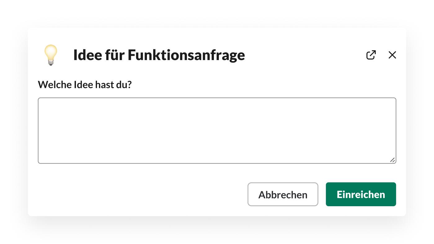 Ein mit Workflow-Builder erstelltes Formular zur Erfassung von Funktionsideen