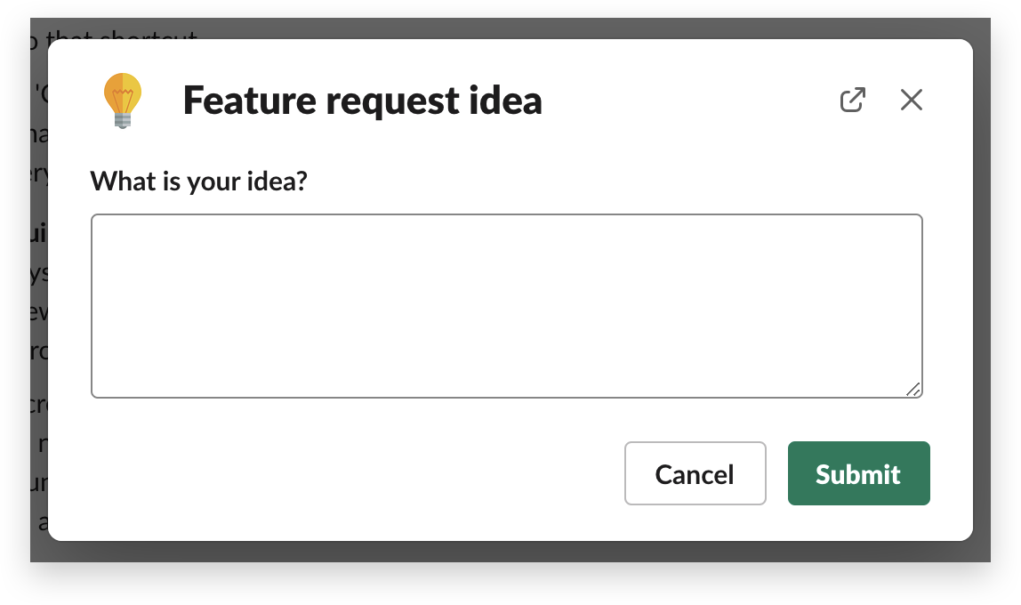 A form for collecting feature ideas built with Workflow Builder