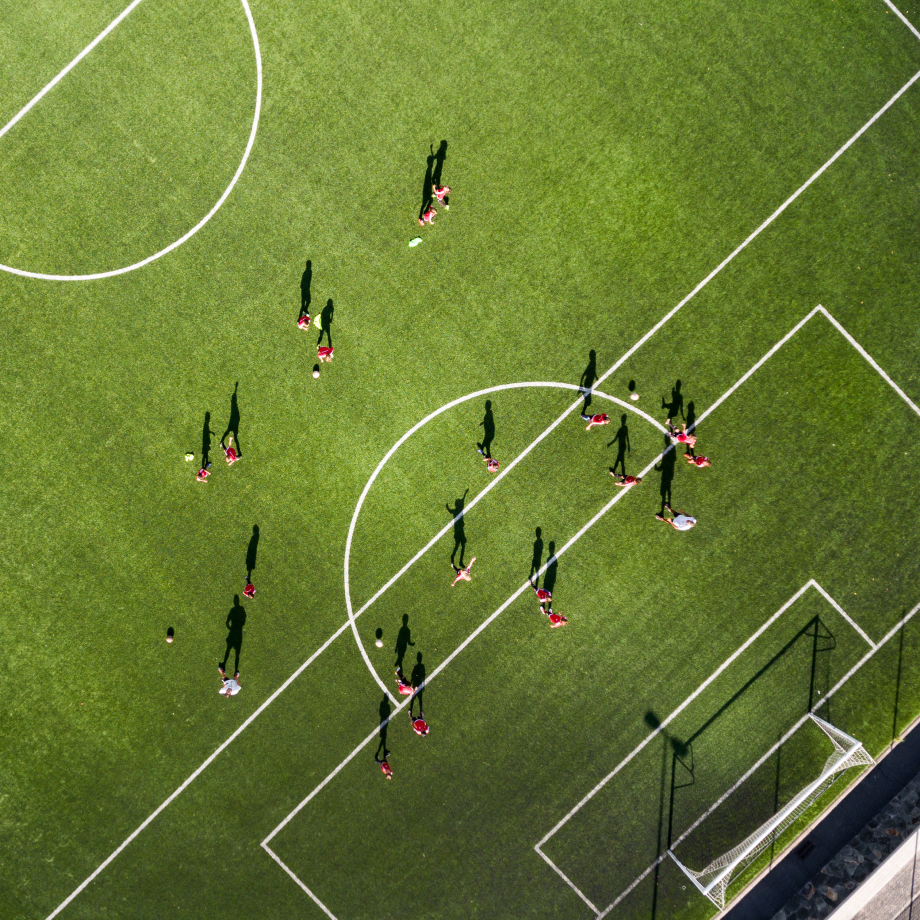 Overhead shot of a soccer scrimmage