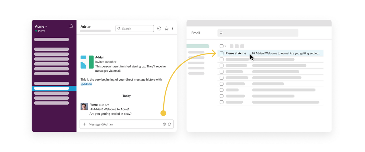 An illustration of how Slack connects with email so that Slack users and non-Slack users can maintain consistent communication.