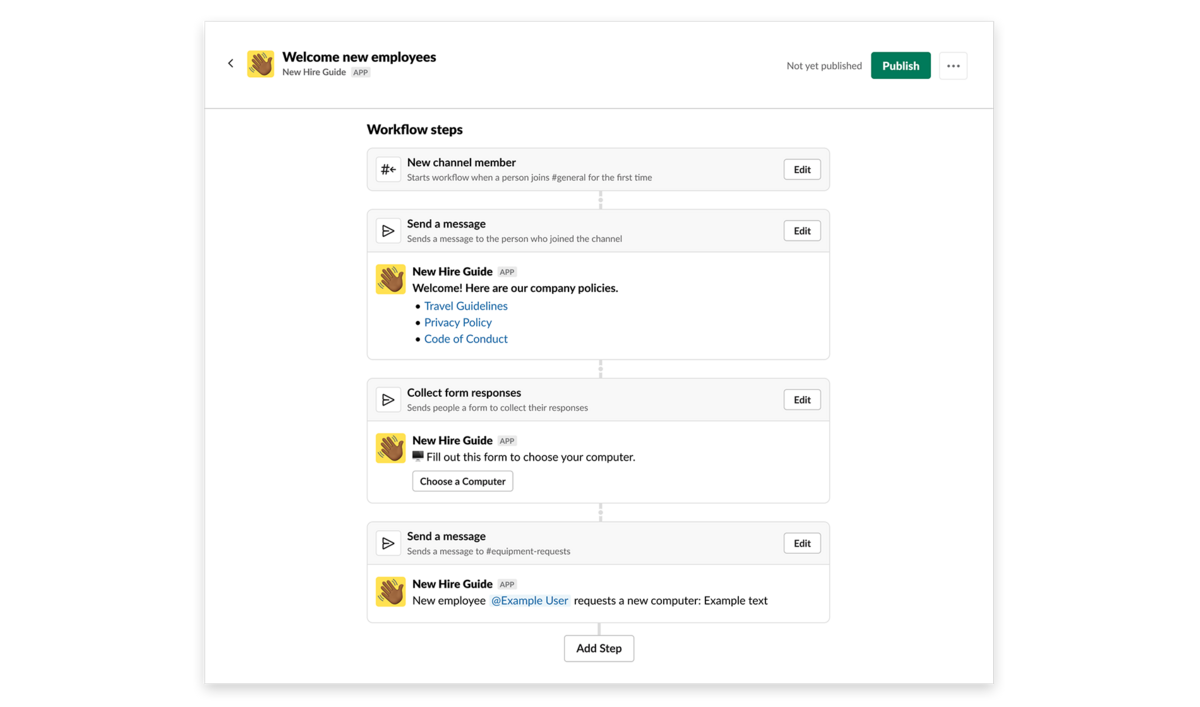 An image of our new Workflow Builder: A tool in Slack that allows you to easily automate processes, no coding knowledge required. Here we show a simple form that surfaces useful information.