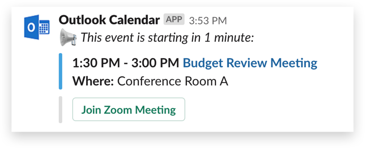 Outlook Calendar showing you can join a Zoom meeting