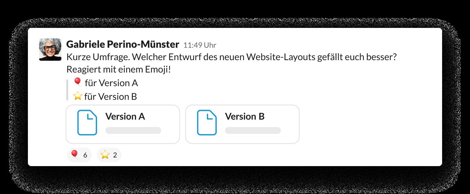 Emojis verwenden, um Stimmen für eine Umfrage zu sammeln