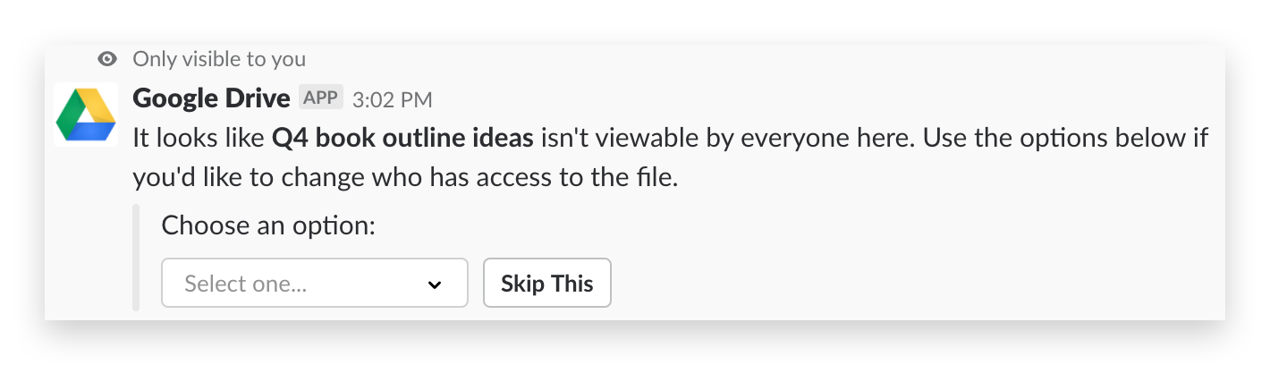 Uploading a Google Drive file into Slack