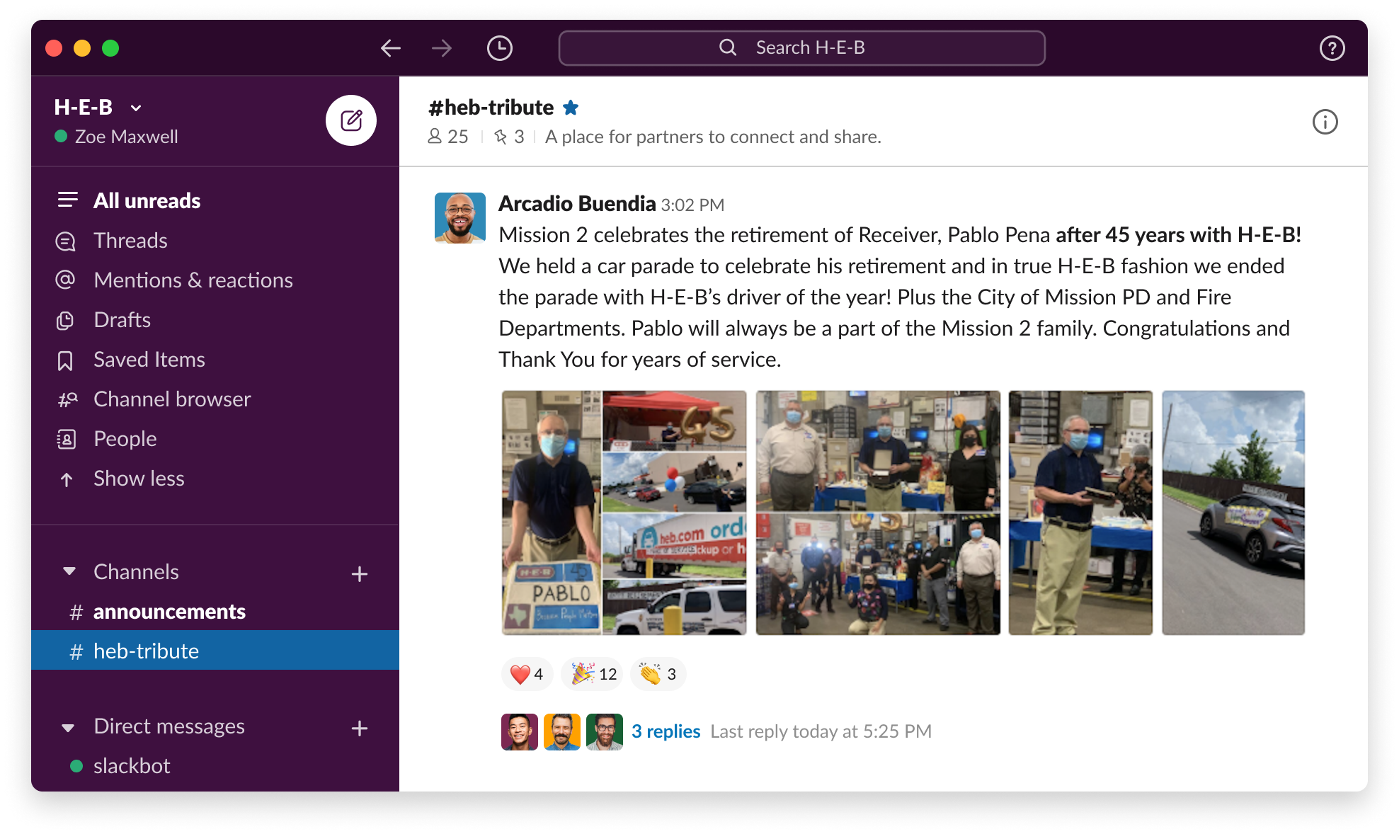 An anonymized example of the Slack UI at H-E-B
