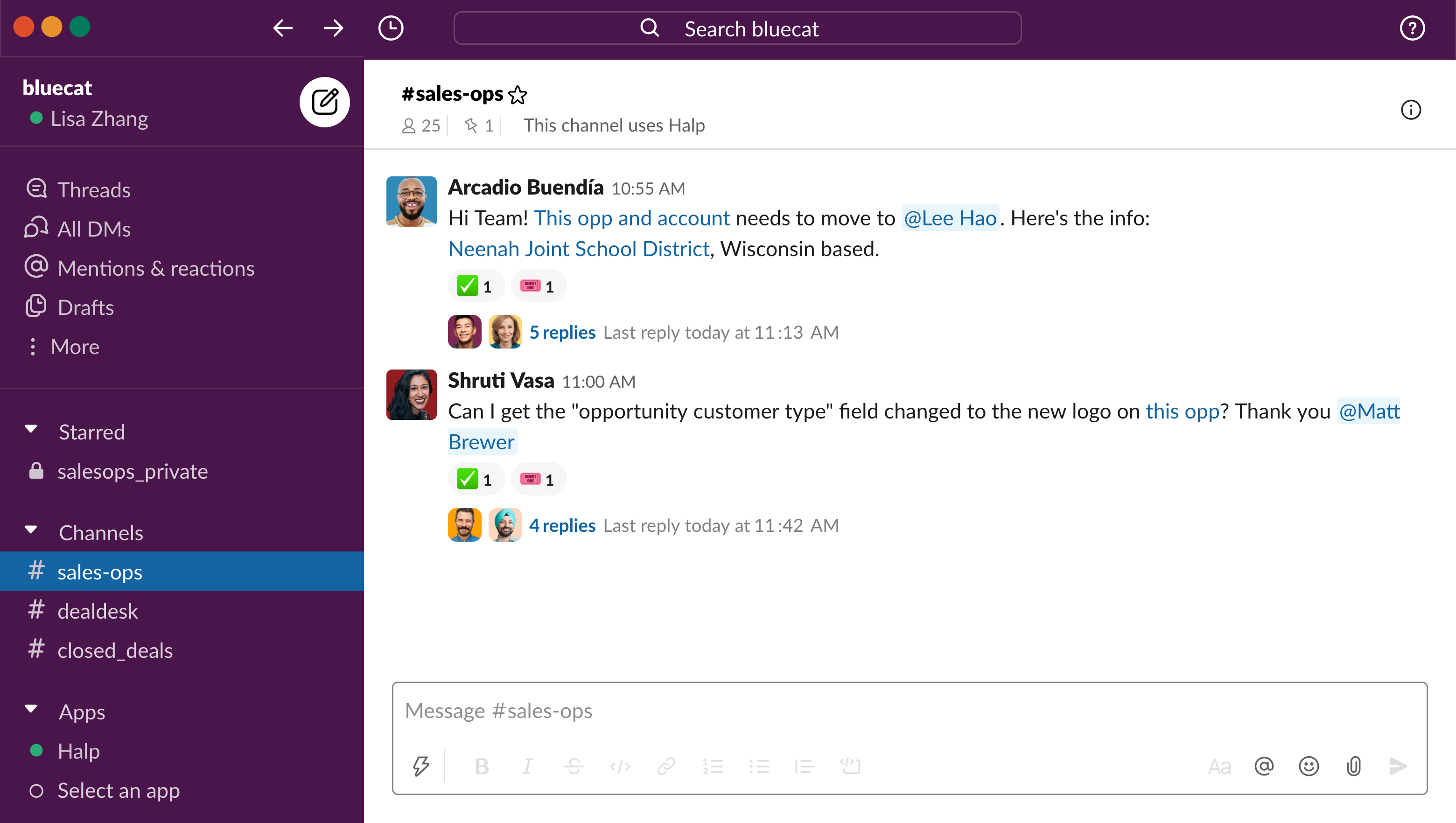 UI image of BlueCat's employees using Halp with Slack's channels and automations