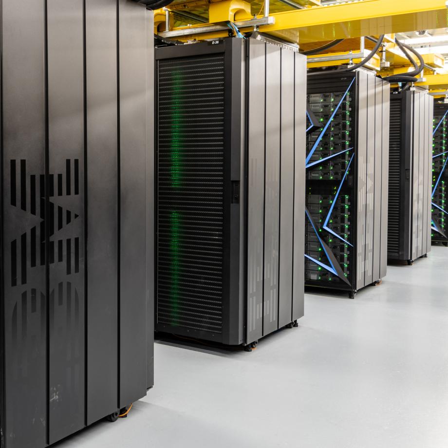 Rows of IBM servers