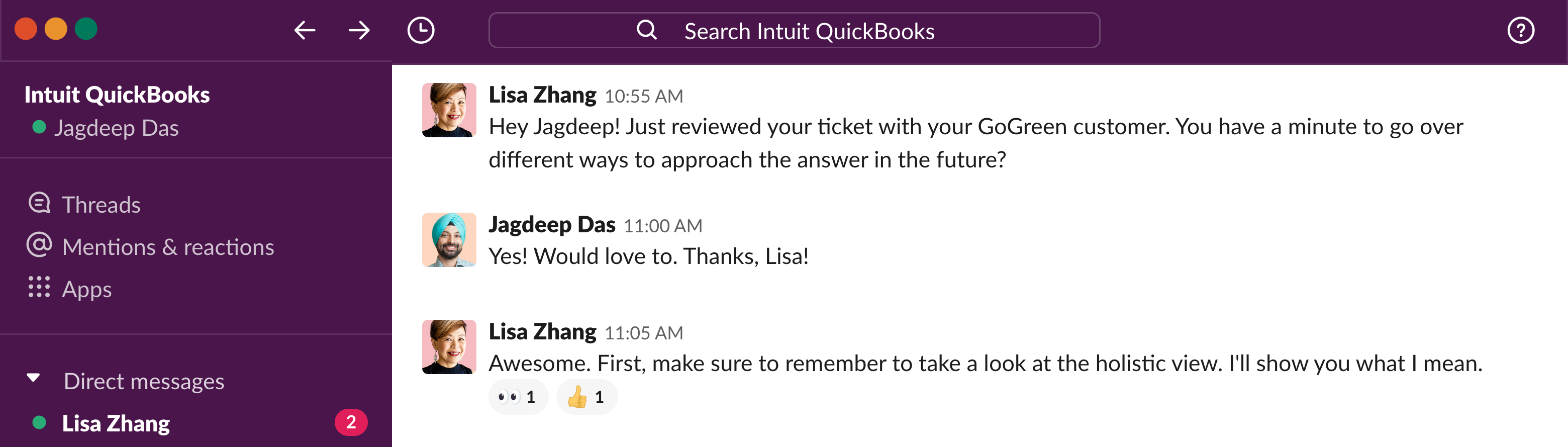 Direct message in Slack between Intuit product champion and support agent