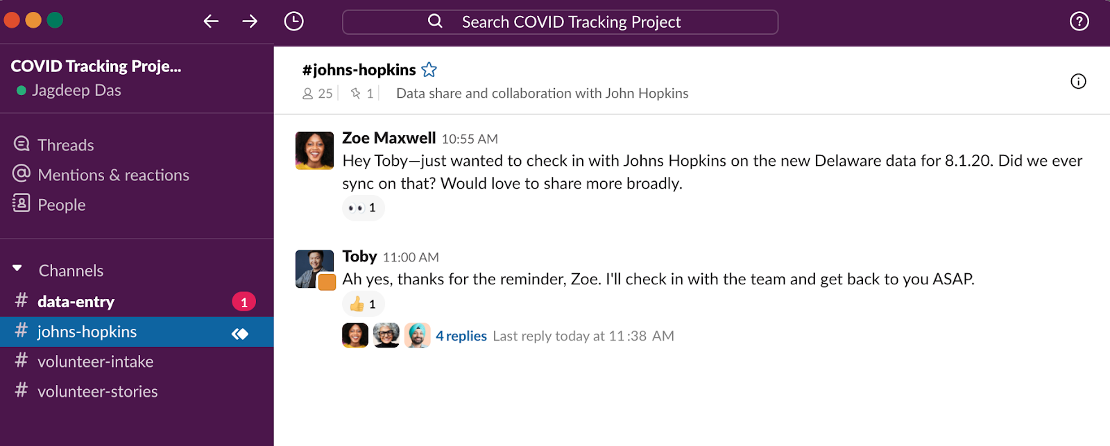 COVID Tracking Project using Slack Connect to sync with outside partners